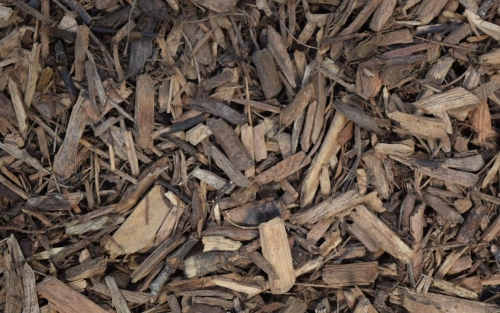 wood chips from residual wood beside the street